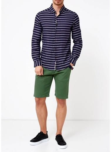 Çizgili Slim Fit Uzun Kollu Gömlek-Phazz Brand